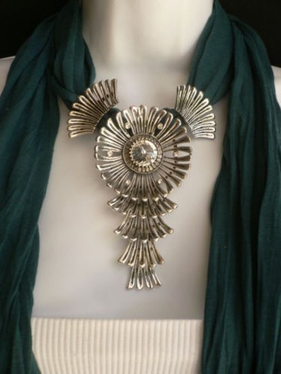 Other Women Green Blue Teal Fashion Scarf Necklace Angel Wings Pendant Rhinestone Image 6