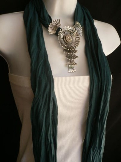 Other Women Green Blue Teal Fashion Scarf Necklace Angel Wings Pendant Rhinestone Image 8