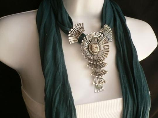 Other Women Green Blue Teal Fashion Scarf Necklace Angel Wings Pendant Rhinestone Image 9