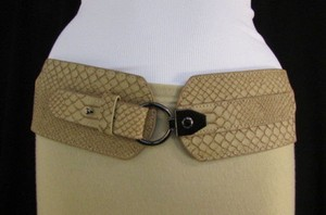Other Women Black White Beige Elastic Fashion Belt Snake Skin Stamp 26-35