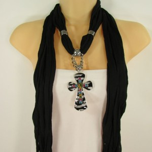 Women Scarf Black Fabric Fashion Long Necklace Silver Zebra Pendant Cross Charm