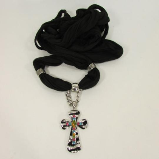 Other Women Scarf Black Fabric necklace Silver Zebra Pendant Cross Charm