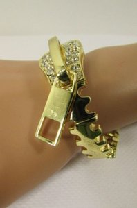 Other Women Gold Thin Big Metal Zipper Bracelet Fashion Jewelry Silver Rhinestones
