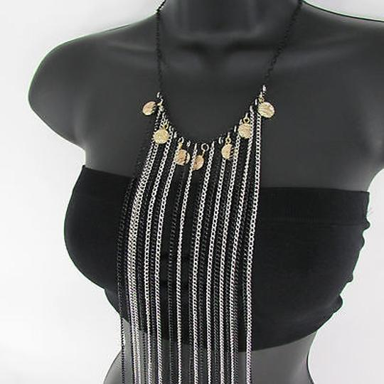 Other Women Black Silver Chains Metal Body Jewerly Coins Long Necklace