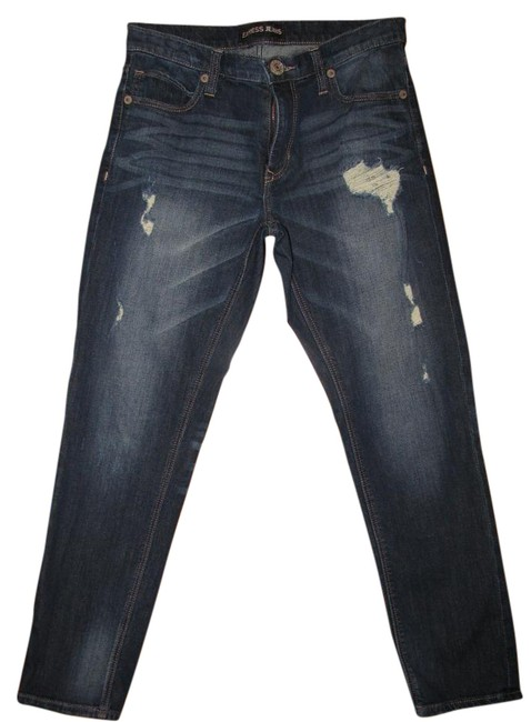 Preload https://img-static.tradesy.com/item/19263400/express-dark-blue-distressed-girlfriend-relaxed-fit-jeans-size-28-4-s-0-1-650-650.jpg