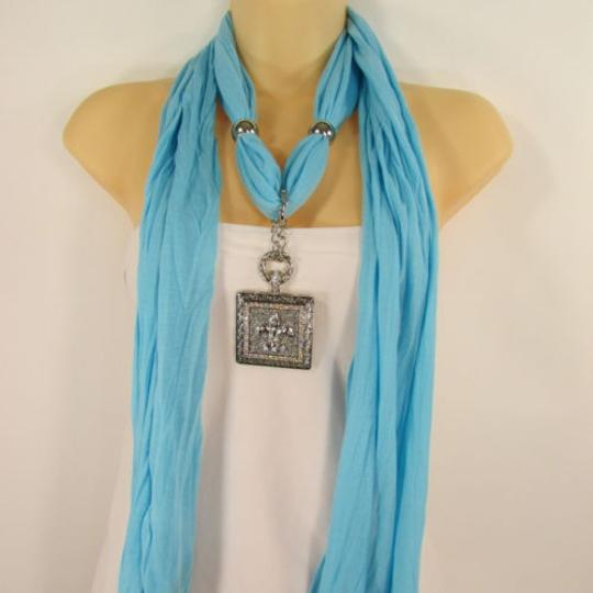 Other Women Soft Scarf Baby Blue Fashion Long Necklace Fleur De Lis Pendant Lily Charm