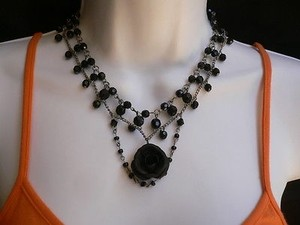 Women Black Beads Short Gothic Necklace Choker Big Rose Fashion Silver Chain