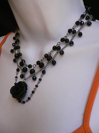 Other Women Black Beads Short Gothic Necklace Silver Chain