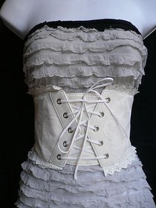 Other Women Summer White High Waist Elastic Fashion Corset Belt