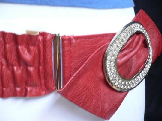 Other Women Red Elastic Fashion Belt Oval Rhinestones Big Buckle 25-35