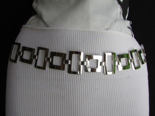 Other Women Silver Metal Thin 1.25 Fashion Metal Chains Belt Squares 28-40 S-l