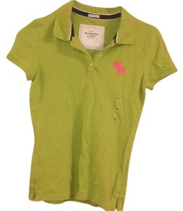 Abercrombie & Fitch Collared Stretchy Casual Structured Top Lime green