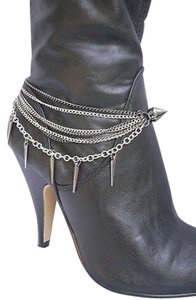Women Silver Anklet Pewter Chains Boot Two Sides Spike Strap Bracelet Shoe Charm