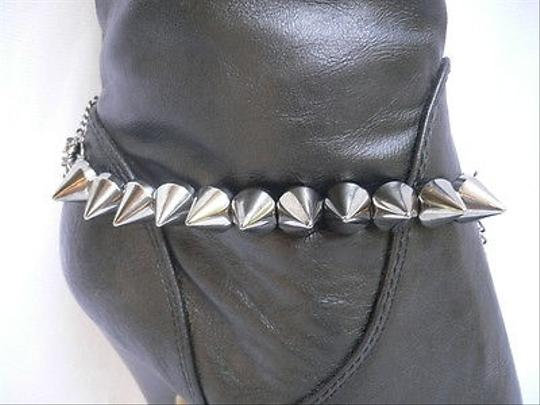 Other Women Silver Anklet Pewter Chains Boot Two Sides Spike Strap Bracelet Shoe Charm