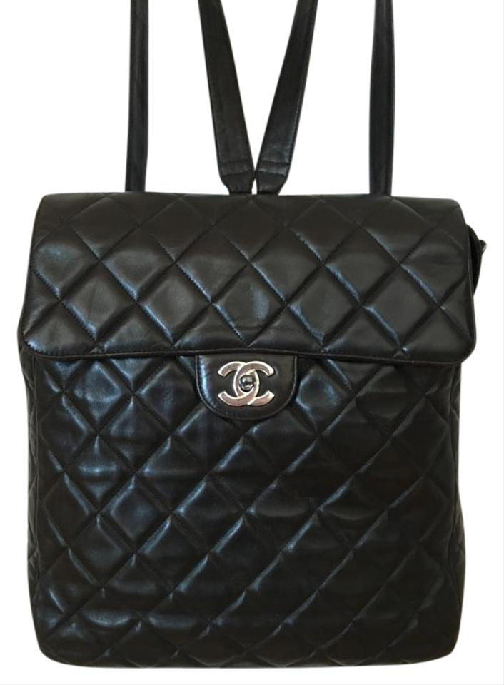 6ac73c5abb6c62 Chanel Quilted Black with Silver Hardware Lambskin Backpack - Tradesy