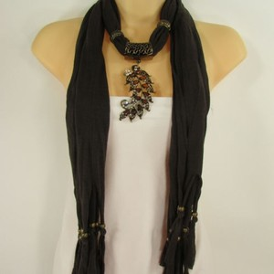 Other Women Scarf Dark Brown Soft Fashion Long Necklace Big Metal Leaf Pendant Charm