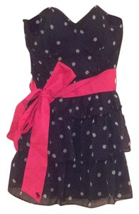 Abercrombie & Fitch short dress Navy blue Polka Dot Ruffle Strapless Short on Tradesy