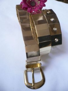Women Gold Metal Plates Trendy Fashion Chic Belt 30-36