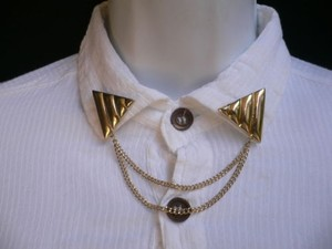 Other Women Gold Triangle Shirt Collar Blouse Tips Chains Rivet Pins Western Punk