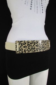 Women Black Beige Elastic Fashion Belt Gold Leopard Metal Plate 27-37