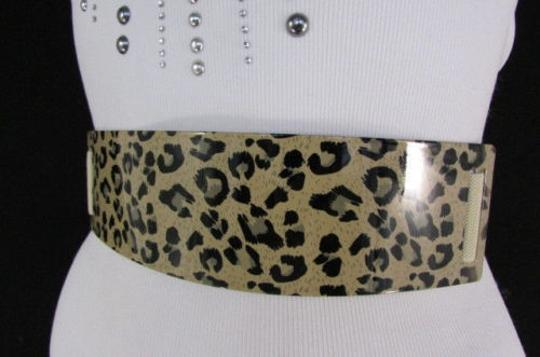 Other Women Black Beige Elastic Fashion Belt Gold Leopard Metal Plate 27-37