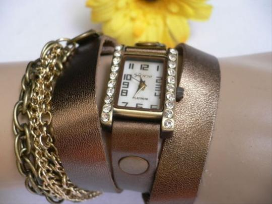 Other Women Quartz Watch Rusty Gold Bronze Chains Faux Leather Bracelet Rhinestone