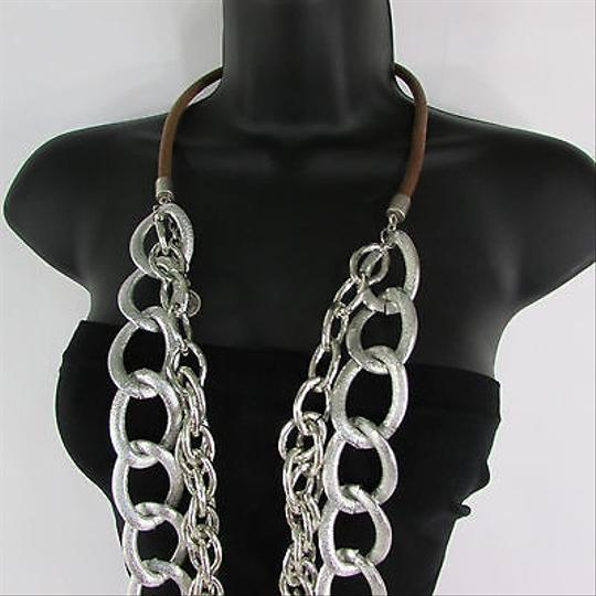 Other Women Silver Chunky Metal Chain Link Fashion Necklace Strands Long