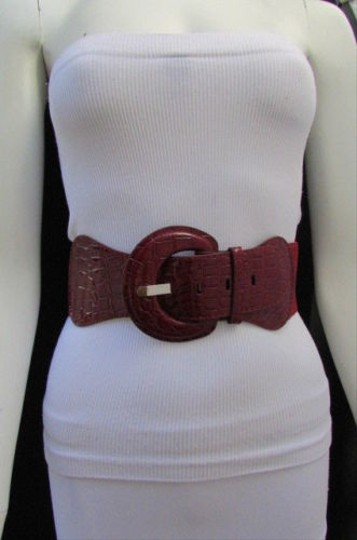 Other Women Elastic Low Hip High Waist Fashion Belt Coral Ivory Navy Blue Burgundy