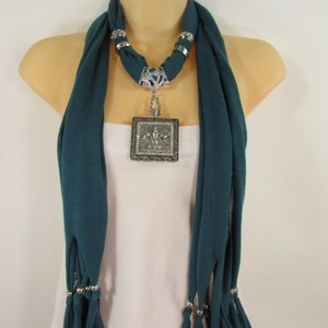 Other Women Scarf Blue Fashion Long Necklace Fleur De Lis Pendant Flower Lily Charm