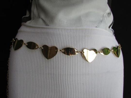 Other Women Gold Metal Thin 1 Fashion Metal Chains Belt Many Hearts 28-40 S-m-l