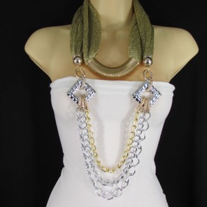 Women Gold Mesh Fabric Silver Metal Chains Fashion Scarf Necklace Choker
