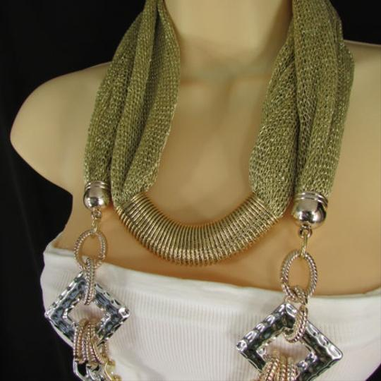 Other Women Gold Mesh Fabric Silver Metal Chains Fashion Scarf Necklace Choker
