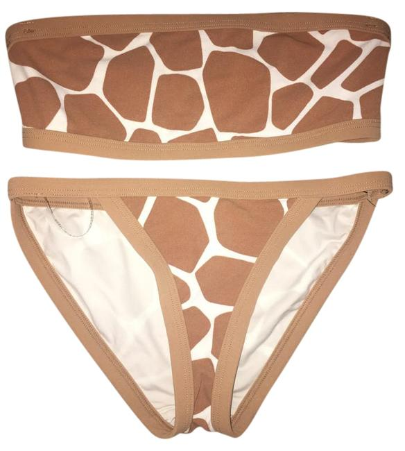 Item - Tan and White Highend Bandeau Giraffe Print - Bikini Set Size 6 (S)