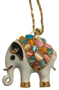Betsey Johnson Betsey Johnson Elephant Necklace Large Pendant Gold Tone J2862
