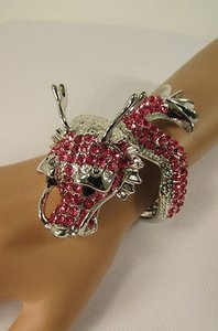 Women Big Chinese Dragon Head Fashion Cuff Bracelet Rhinestones Gold Silver