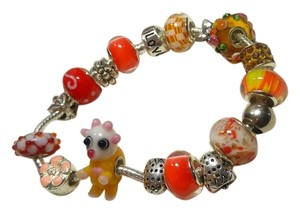 Other European Charm Bracelet 17 Removable Charms Orange Silver J2863