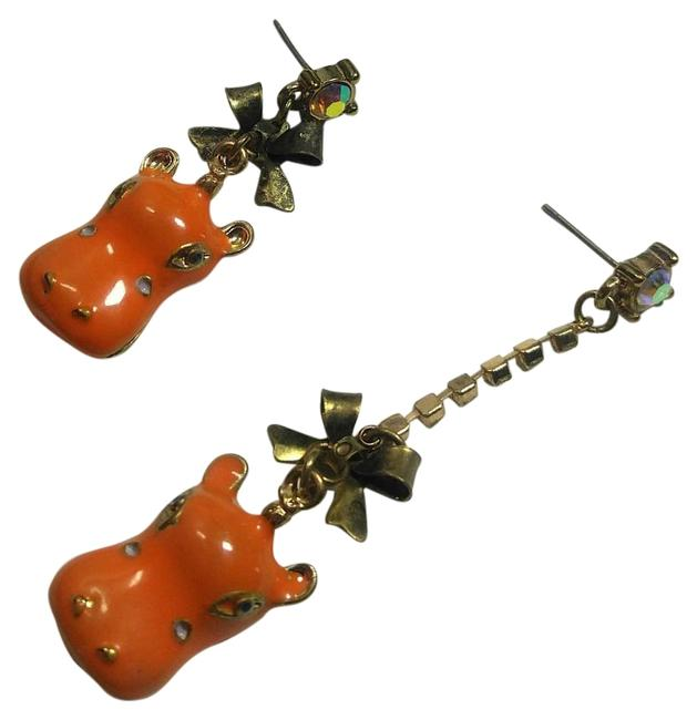 Item - Orange Gold Hippo Dangle J2864 Earrings