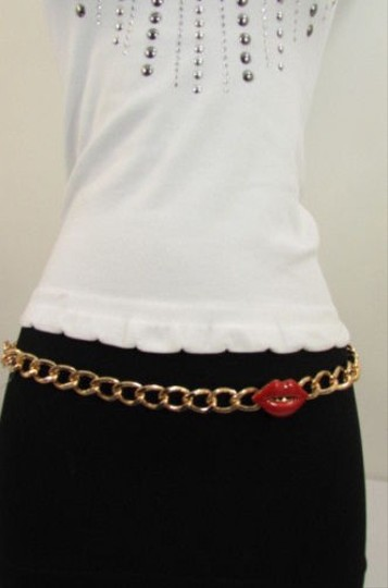 Other Women Thick Gold Metal Chains Fashion Belt Lips Kiss Hip Waist 27-42