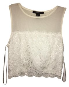 Forever 21 Lace Trim Mesh Top White