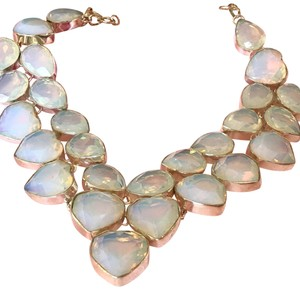 Other Milky Fire Opal Sterling Silver Statement Necklace