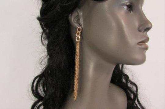 Other Women Gold Metal Chains Dangle Fashion Earrings Set Long Short Options