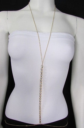 Other Women Gold Multi Rhinestones Metal Body Chain Necklace Fashion Jewelry