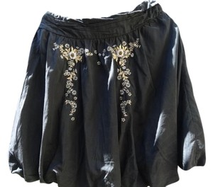 Odille Silk Crochet Skirt Black