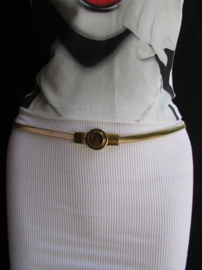 Other Women Thin Gold Metal Elastic Fashion Narrow Belt Classic Round Buckle