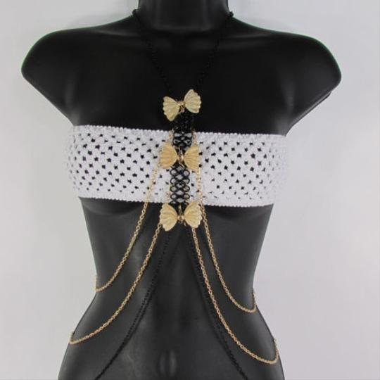 Other Women Gold Bows Black Metal Body Chain jewerly Long Necklace