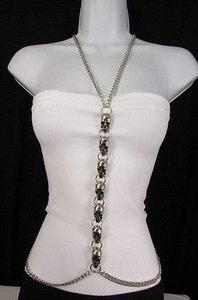 Other Women Silver Big Multi Metal Skulls Body Chain Long Necklace Fashion Jewelry