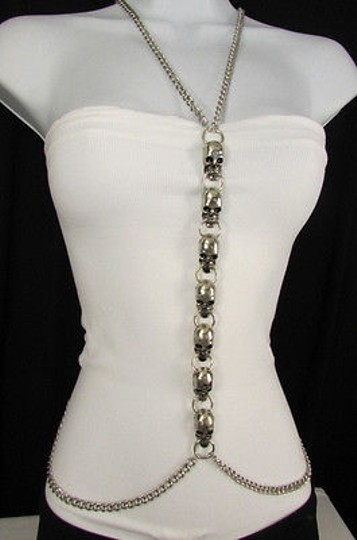 Other Women Silver Big Multi Metal Skulls Body Chain Long Jewelry