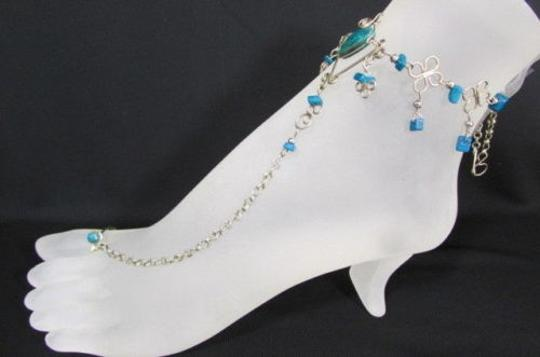 Other Women Toe Ring Slave Anklet Multi Beads Silver Foot Chain Blue Black