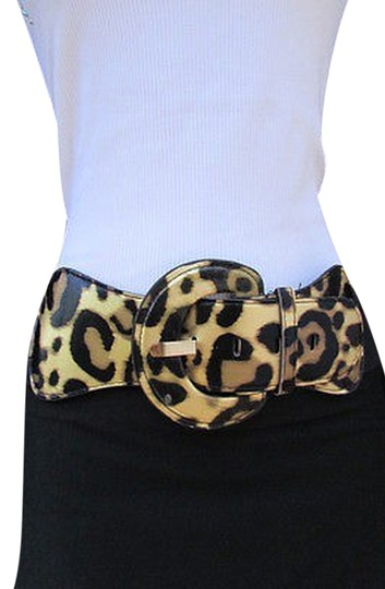 Other Women Elastic Fashion Belt Leopard Zebra Silver Gold White Sizes Xs S M L