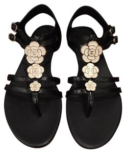 Chanel Camellia Flower Cc Classic Gladiator black Sandals